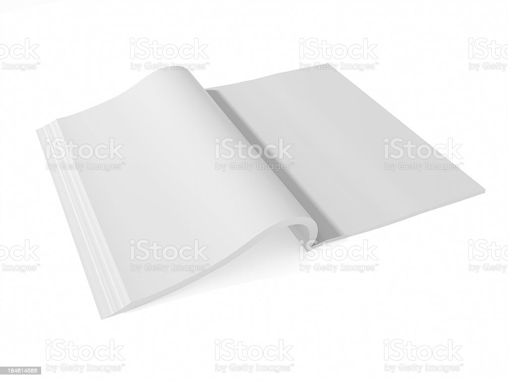 blank page of magazine book paper isolated on white background stock photo