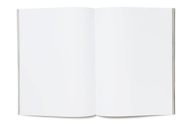 leere seite magazine - zeitschrift aufgeschlagen stock-fotos und bilder