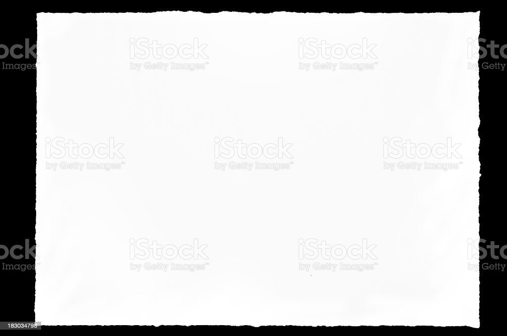 A blank page of paper with textured edges stock photo
