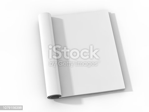 Mock-up magazine or catalog on table. Blank page or notepad for mockups or simulations. 3D rendering