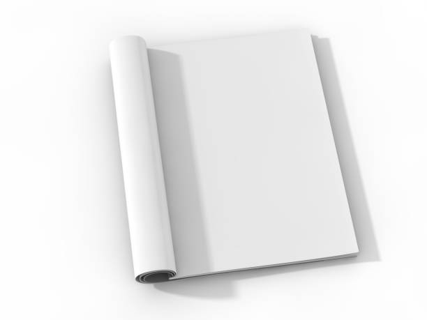 blank page or notepad for mockup or simulations. 3d - magazine stock photos and pictures