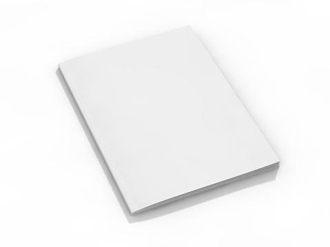 Blank page or notepad for mockup or simulations. 3D