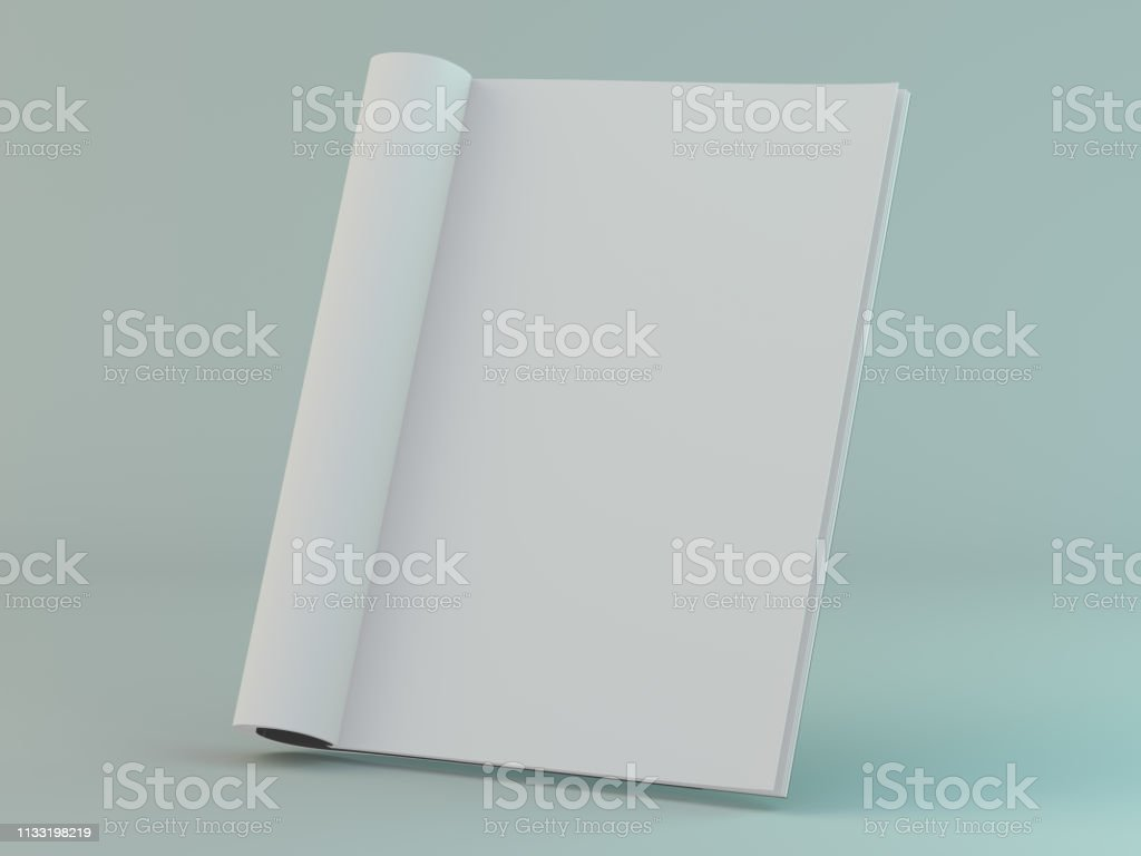 Blanco pagina of Kladblok voor model of simulaties. 3d - Royalty-free Bedekken Stockfoto