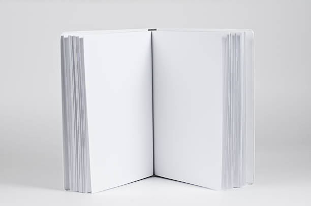 blank pages in a white book stock photo