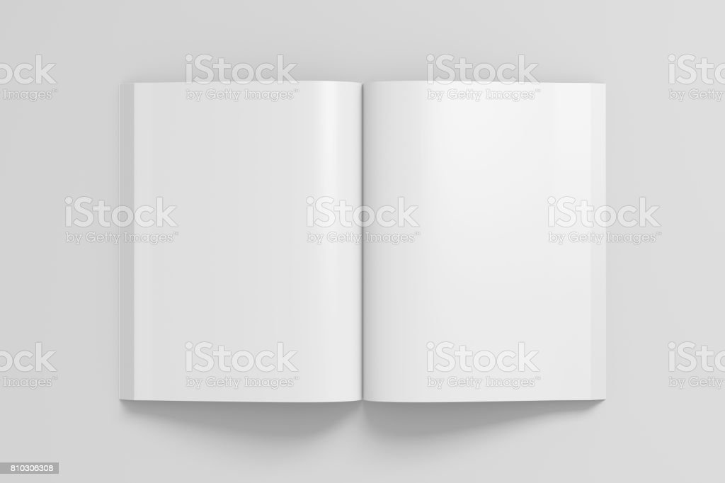 Blank pages of open soft cover book stock photo