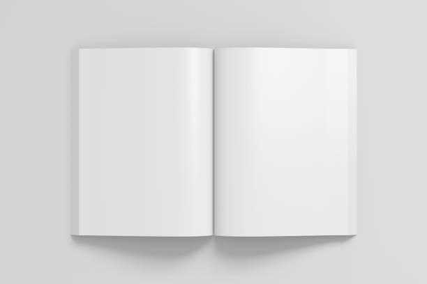 blank pages of open soft cover book - magazine mockup stock photos and pictures