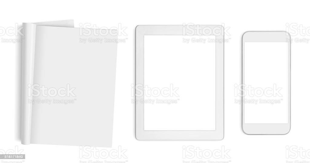 Pagine vuote, computer compressa e cellulare sola su bianco - foto stock