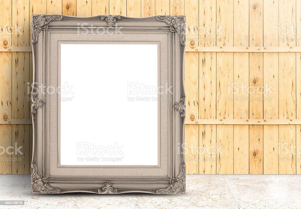 Blank Pale Brwon Vintage Frame On Marble Floorwood Wall stock photo ...