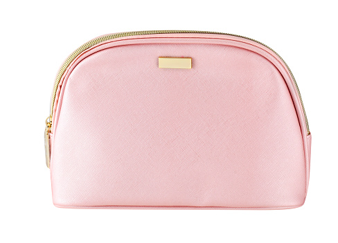 Blank pale pink beautician bag for cosmetics with zip