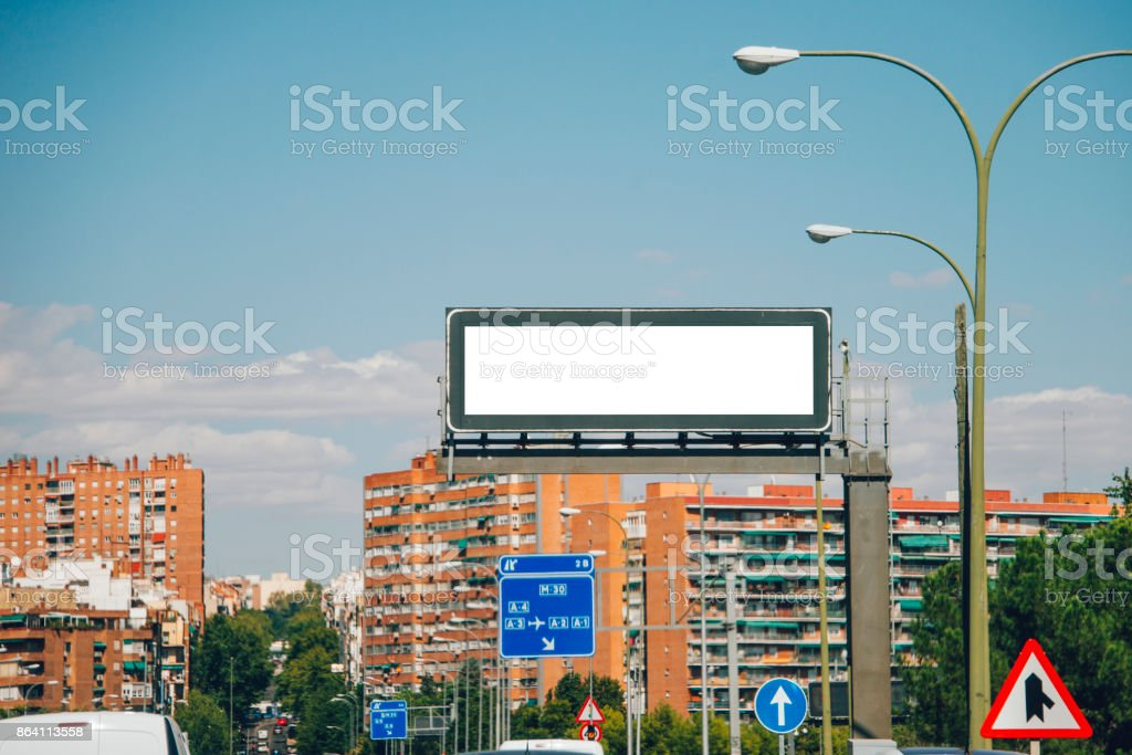Blank panel on city avenue royalty-free stock photo