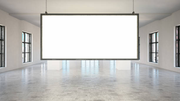 Blank Panoramic Sign Board Blank wide sign board in white interior electronic billboard stock pictures, royalty-free photos & images