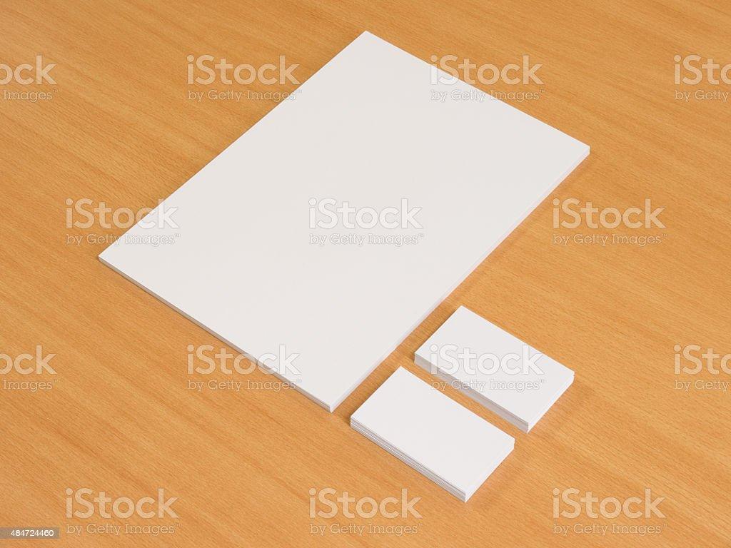 Leeres Papier Und Visitenkarten Holz Stockfoto Und Mehr