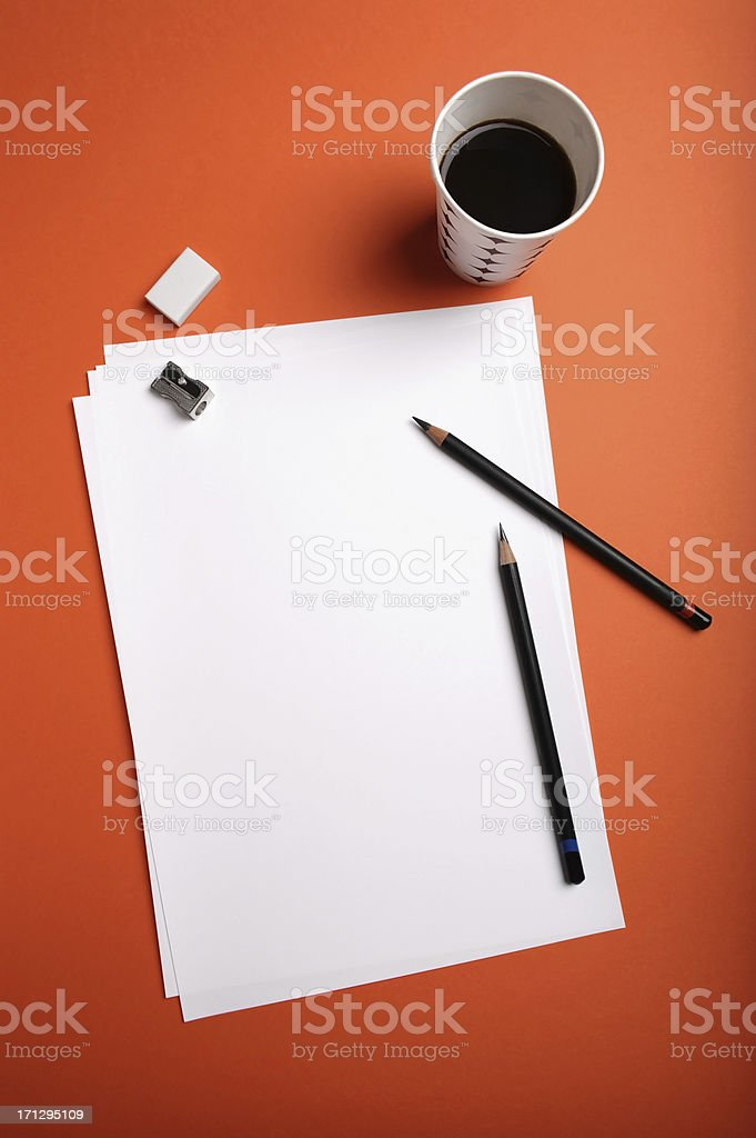 Blank paper and drawing tools royalty-free stock photo