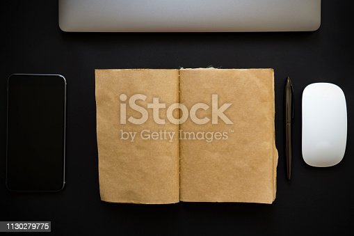 istock blank paper and workplace 1130279775