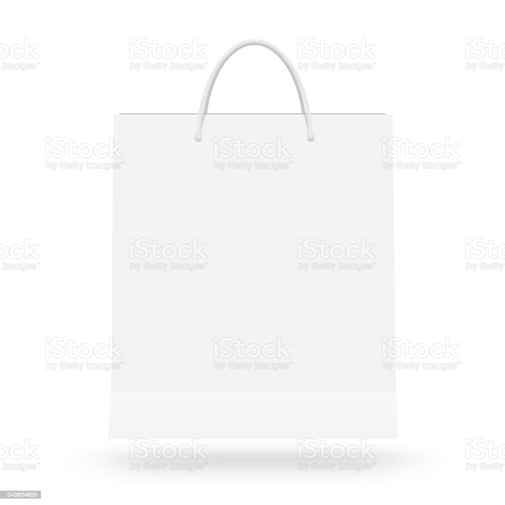 Blank paper bag mock up isolated. White clear magazine packet stock photo