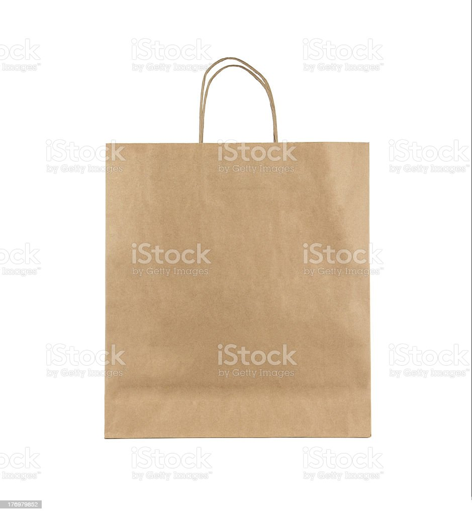 Blank paper bag stock photo