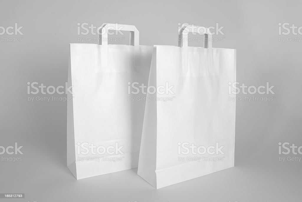Blank paper bags stock photo