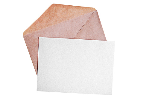 Blank paper card and open envelope isolated on white background
