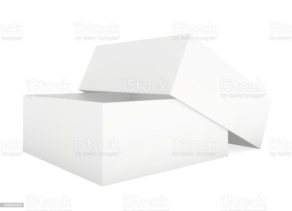 Blank Paper Cardboard Box Template Standing On White Background Royalty Free Stock Photo