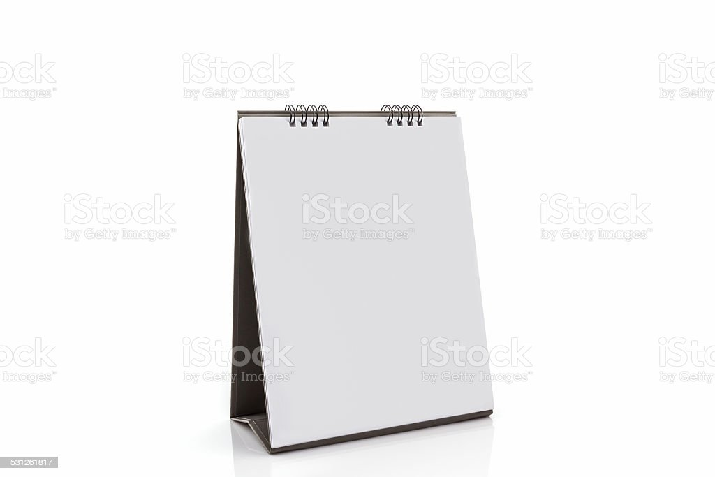 Blank paper desk spiral calendar . stock photo
