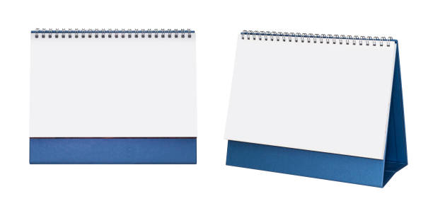 Blank paper desk spiral calendar. stock photo