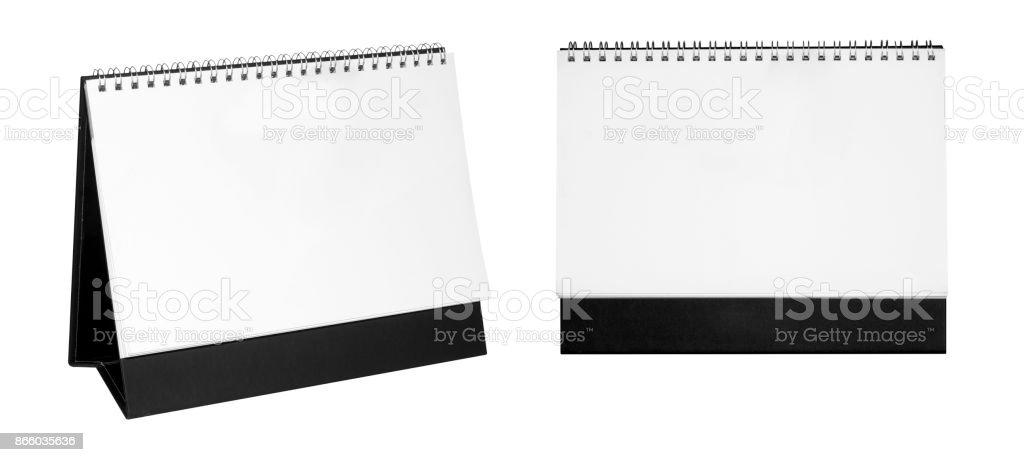 Blank paper desk spiral calendar. stock photo