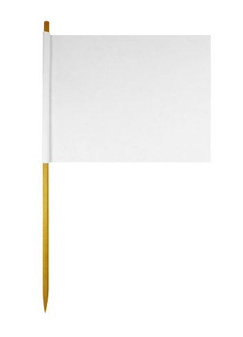Blank paper flag isolated on white with Clipping Path