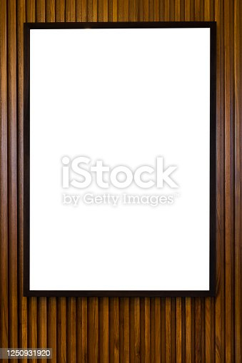 1141440440 istock photo blank paper frames on wooden wall 1250931920