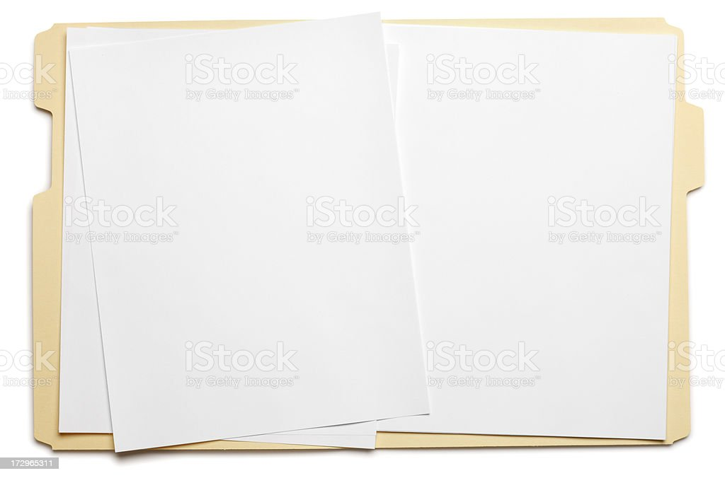 Blank paper in an open file folder on white background stock photo