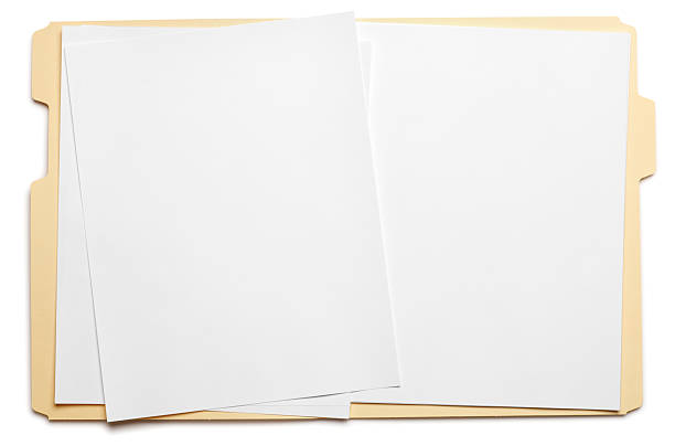 blank paper in an open file folder on white background - file stock pictures, royalty-free photos & images