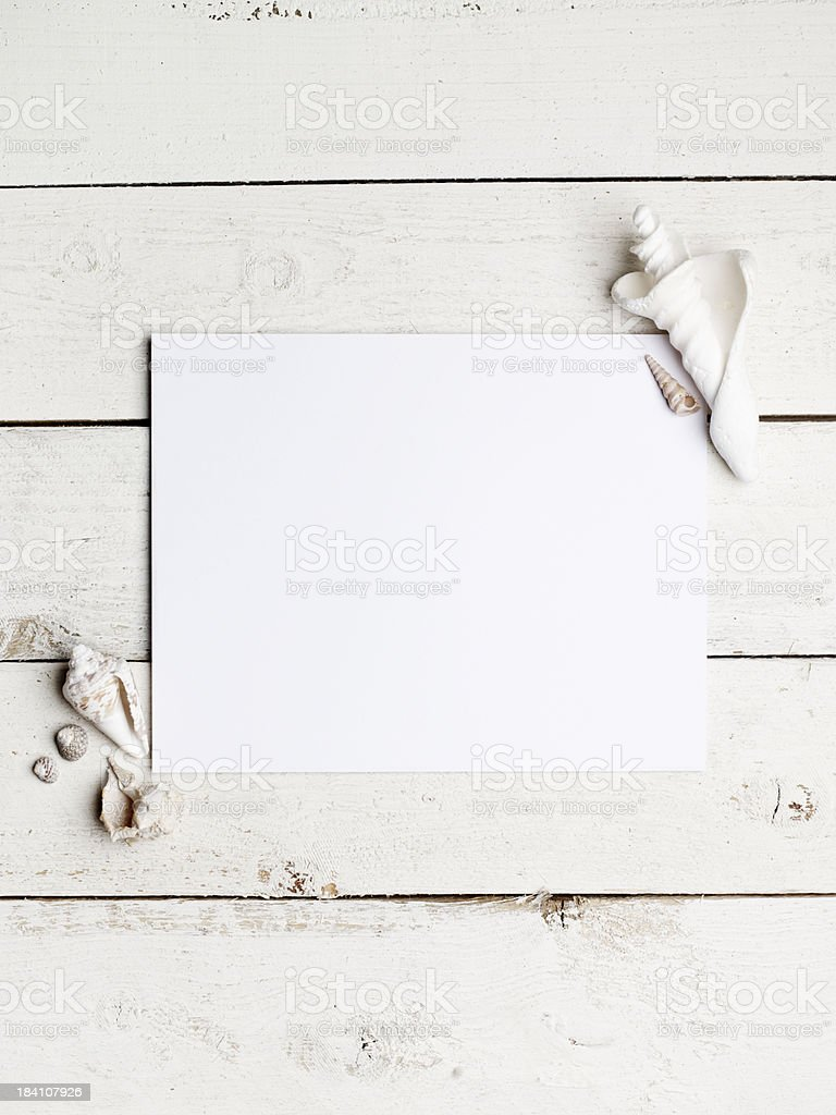 Blank paper on a beach theme stock photo
