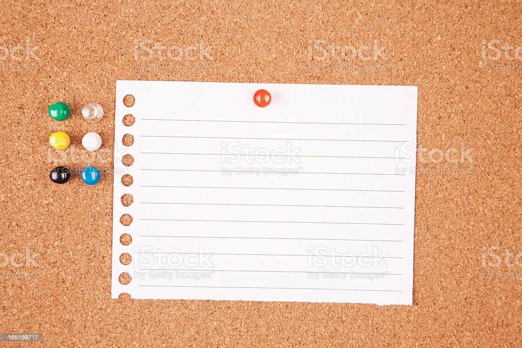 Blank paper on a noticeboard royalty-free stock photo