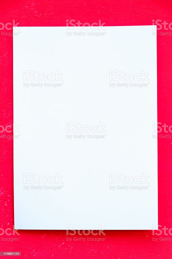 Blank Paper on red stock photo