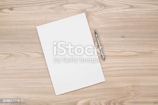 istock blank paper on the table 509621776