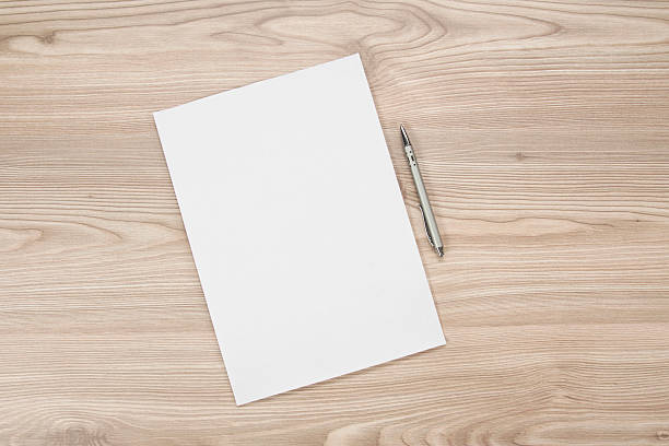 blank paper on the table - note message stock photos and pictures