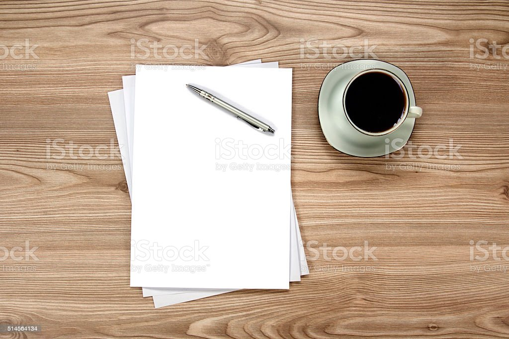 blank paper on the table stock photo  download image now
