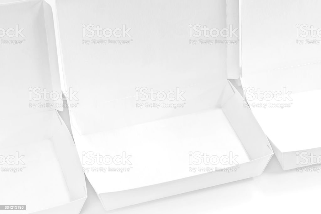 Blank paper package white box for food products on the white background. royalty-free stock photo