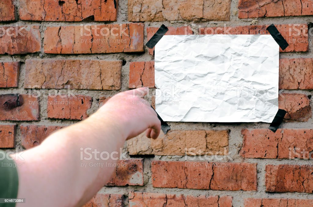 Blank Paper Page Sheet Glued On Brick Wall Background Stock