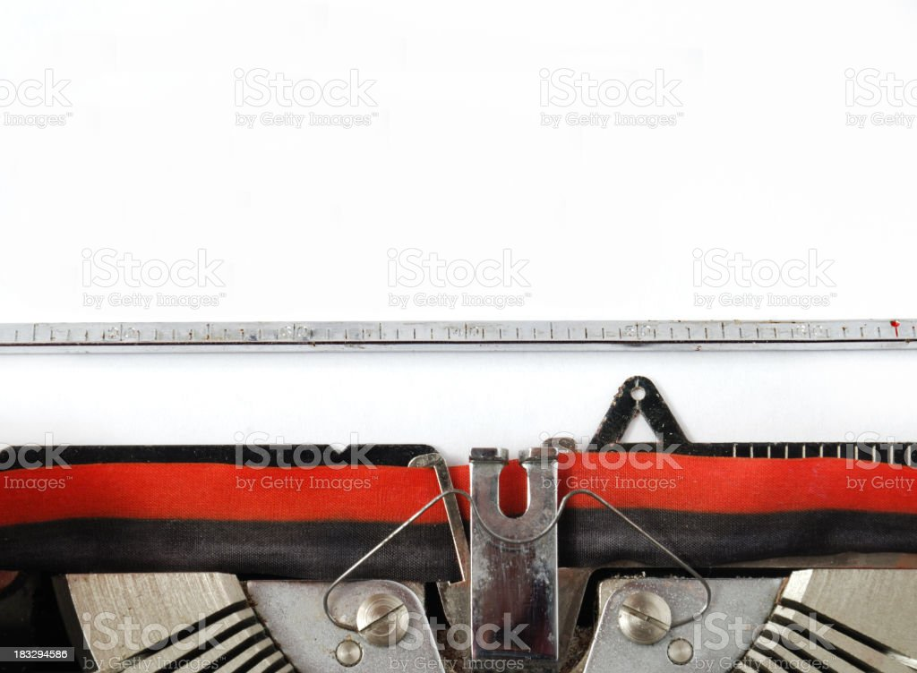 Blank paper placed on old typewriter royalty-free stock photo