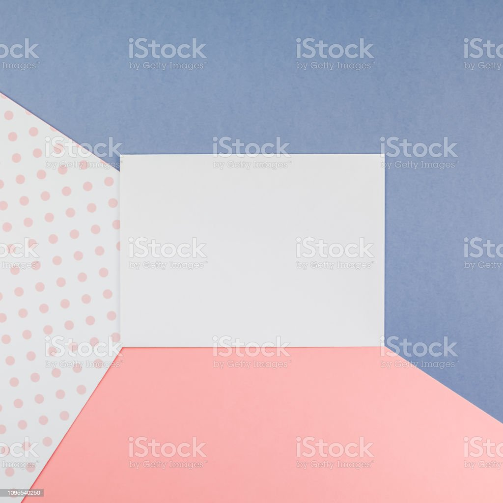 Creative top view mock up blank paper sheet pink postcard background...