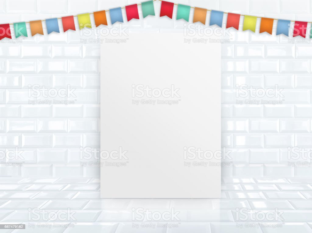 Blank paper poster leaning at white glossy tile studio room with colorful banner flag ,Mock up template for adding your design or use as party invitation. stock photo