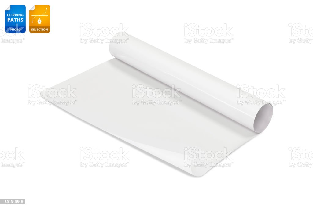 Blank Paper Roll Isolated On White Background Glossy Sticker
