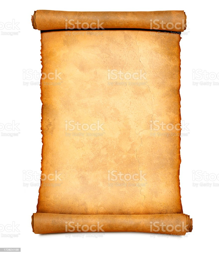 Blank Paper Scroll Isolated On A white Background stock photo