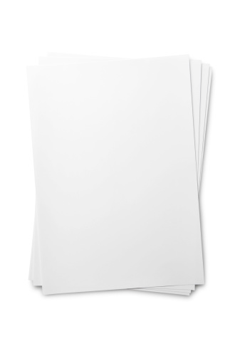 Blank paper sheet on whiteisolated on a white background. Added clipping path