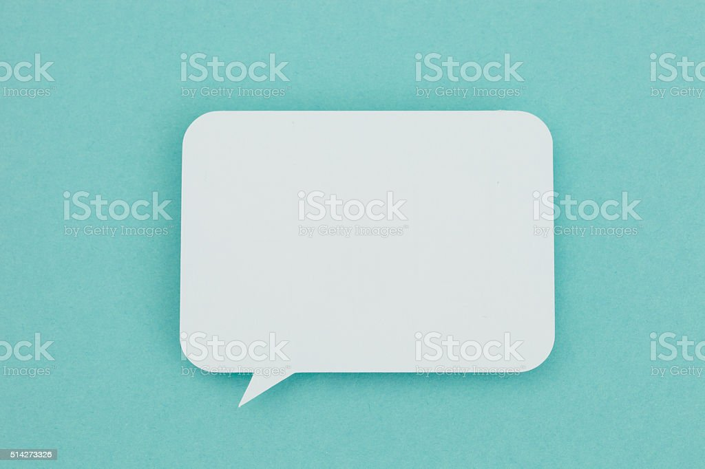 Blank paper speech bubble stock photo