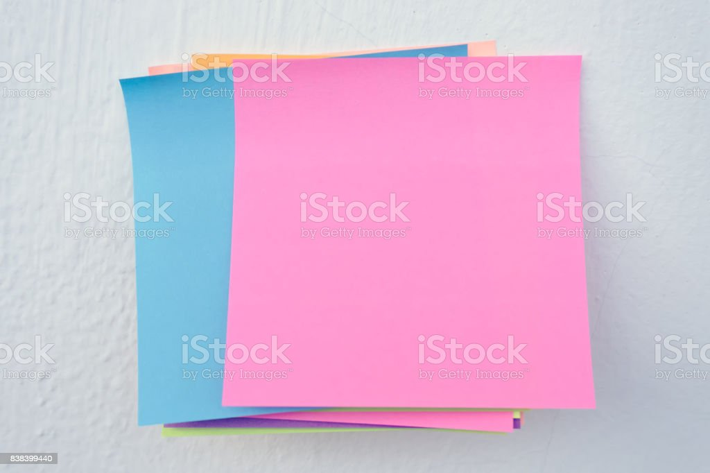 Blank paper stick on wall stock photo