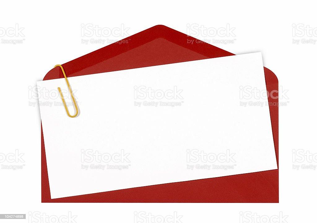 Blanco Mensaje O Tarjeta De Invitación Con Sobre Rojo Foto