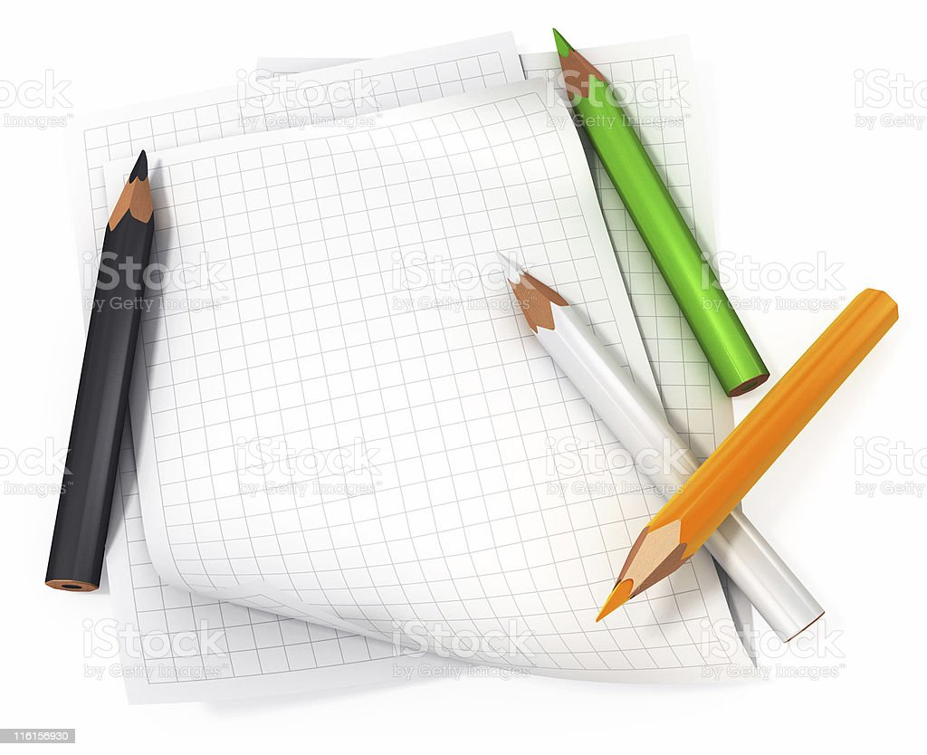 Blank paper with color pencils royalty-free stock photo