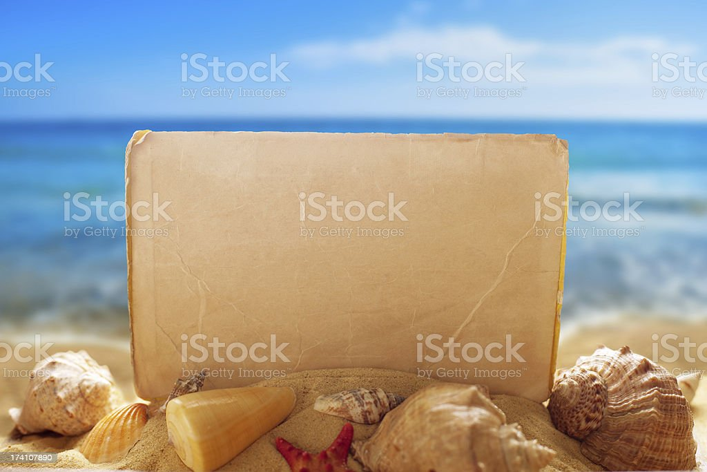 Blank paper with seashells on the beach royalty-free stock photo
