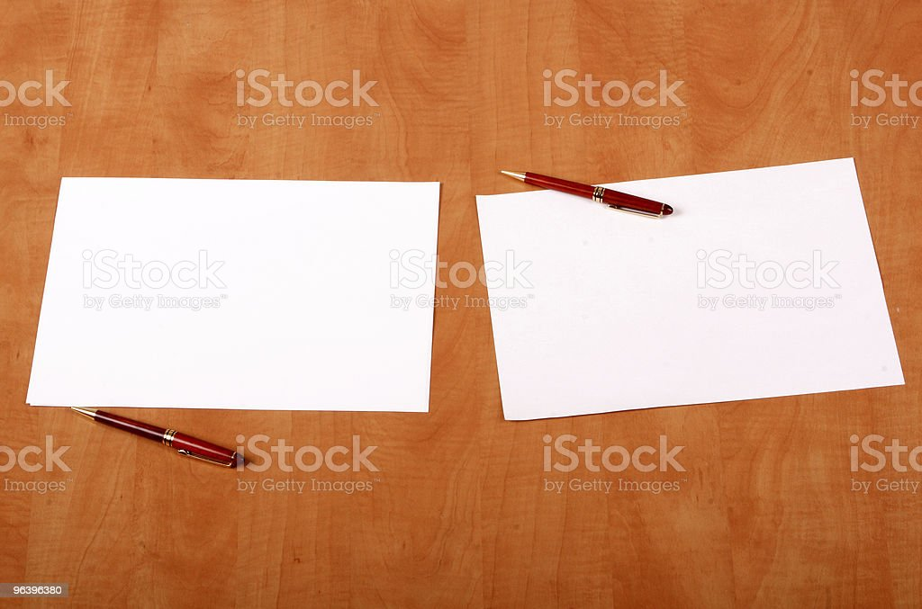 Blank papers and pens on the desk - Royalty-free Agreement Stock Photo